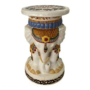 Vintage Large 3 Elephants Garden Stool Glazed Ceramic Pottery Table Seat Statue