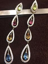 1.76 Cts Round Brilliant Cut Diamonds Dangle Earrings In Fine 18K Yellow Gold