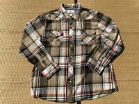 Roebuck & Co. Pearl Snap L/S Plaid Shirt Brown Western Mens Size XXL
