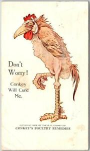 1923 Lawrence Kansas Postcard CONKEY'S POULTRY REMEDIES / Barteldes Seed Co.