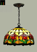New JT Tiffany Tulip Stained Glass 12 Inch Shade Pendant Lamp Home Art Deco