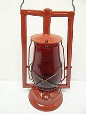 Antique Old Used Metal Red Glass Dietz Victor Tubular Kerosene Barn Lantern Lamp