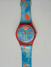 VINTAGE 2000 HOUR PLANE SWATCH WATCH RED BLUE RARE NEVER WORN SWISS COLLECTABLE