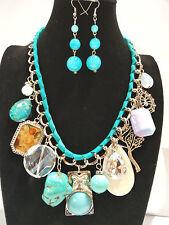 Charming Vogue Pendant Turquoise  & Silver Tone Metals  Statment  Necklace Set