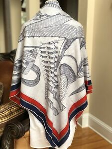 Hermes Zouaves Et Dragons Cashmere And Silk Shawl 140 In Cl/ Gris Chine/ Marine
