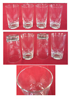VINTAGE Drinking Glass Tumblers 10 oz. Etched Floral Clear 4-Piece Set