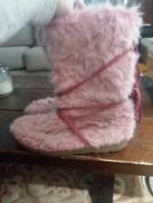 Womens Pink Furry Fluffy Boots 11