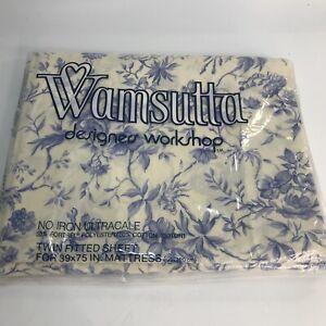 Warmsutta Ultracale Sheet Twin Fitted Sheet Vintage Blue Flowers NEW NOS Sheet