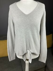 White Stuff Uk 8 Grey Tie Front Pullover Womens Cotton Jumper Vgc #A
