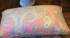 Preowned -RALPH LAUREN CRYSTAL CAY PINK PAISLEY  10 X 18 THROW  PILLOW