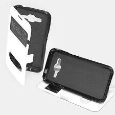 custodia eco pelle bianca cover per Samsung Galaxy J2 SM-J200 libro con Stand