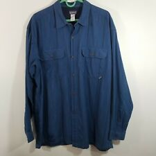 Patagonia Men's L Fjord Heavy Flannel Shirt Navy Blue L/S Organic Cotton Large
