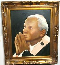 POPE LARGE ORIGINAL OIL ON CANVAS PAINTING FRAMED UNSIGNED