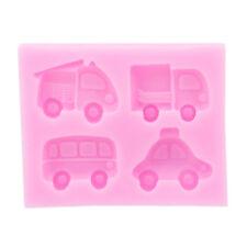 4 Cavity Silicone Vehicles Truck Fire Engine Car Bus Shape Sugar Craft Mold YI