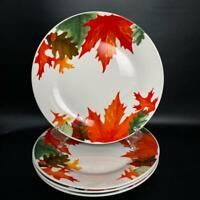"Royal Norfolk~ 4 Colorful Fall / Autumn Leaves & Acorns ~ Dinner Plates 10.5"""