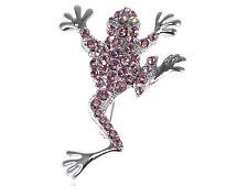 Special Reproduction Purple Crystal Rhinestone Jumping Frog Fashion Pin Brooch