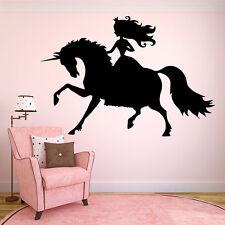 Wall Room Decor Vinyl Sticker Mural Decal Nursery Girl Unicorn Princess F2221