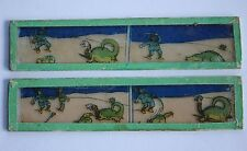 2 plaque verre lanterne magique projection Humour crocodile serpent sabre chien