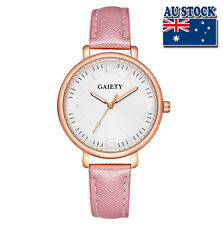 Fashion Pink Leather Steel White Dial Quartz Watch Women Lady Wrist Watch