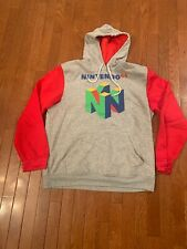 Nintendo 64 Logo Men's Grey Hoodie Drawstring Sweatshirt XL But Fits Like A L