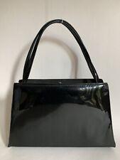 A Stylo Barratt Black  Patent 1960s Vintage Handbag Fabric Lining & Elbief Frame