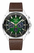Seiko Recraft Solar Chronograph Stainless Steel and Leather Men's Watch SSC513