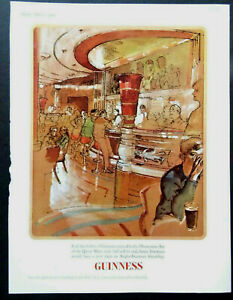 Vintage 1960s alcohol advert GUINNESS Observation Bar of the Queen Mary Ward 8