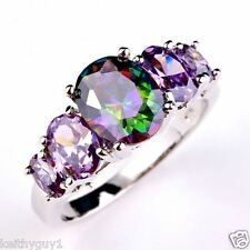 Unusual mystic topaz and amethyst style fashion ring in size M
