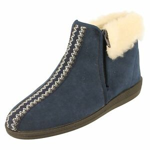 Ladies Rohde Warm Lined Bootie Slippers Zip Fastening - 2178