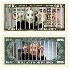 5 Hillary For Prison Money Fake Dollar Bills Presidential Novelty Lot