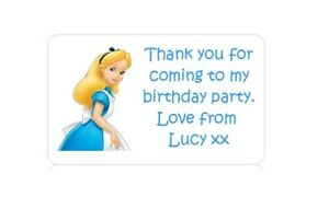 PERSONALISED PARTY BAG FAVOUR ADDRESS LABEL STICKERS DISNEY ALICE IN WONDERLAND