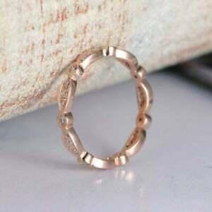 1Ct Round Cut VVS1/D Diamond Eternity Band Engagement Ring 14K Rose Gold Finish