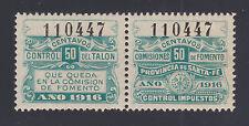 Argentina, Santa Fé, MNH. 1916 50c Comision de Fomento Talon & Control Pair