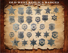 10 ASSORTED OLD WEST,WESTERN BADGES,STAR,COLLECTIBLE, VINTAGE, You Pick Styles