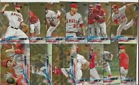 LOS ANGELES ANGELS 2018 Topps Series 2 GOLD PARALLEL TEAM SET LOT (13) no Ohtani