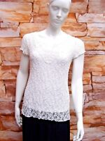 MARKS & SPENCER PER UNA WHITE STRETCH FLORAL LACE CAP SLEEVE TOP SIZE 12