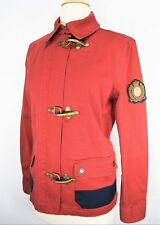 Lauren Ralph Lauren Red Military Fireman Jacket Metal Toggle Full Zip Size Small
