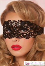 Womens Masquerade 1920's Gatsby Ann Summers Black Ribbon Lace Hollow Eye Mask