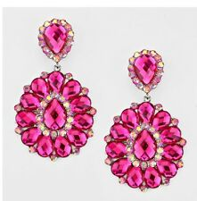 "3.25"" BIG Long Pink Fuchsia Silver Wedding Rhinestone Crystal CLIP ON Earrings"