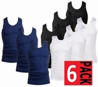 New Mens 6 Pack Vests Pure Cotton Gym Top Winter Thermal Training Gym Underwear