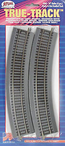 "Atlas 460 - 18"" Radius Code 83 Brown Tie/Grey Roadbed - New On Card!  (4 Piece)"