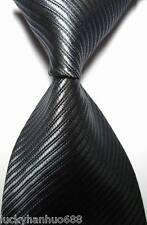 New Classic Solid Stripes Dark Gray JACQUARD WOVEN 100% Silk Men's Tie Necktie