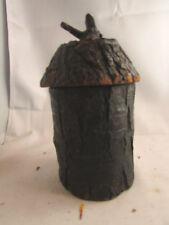 ancien pot a tabac tabatiere en bois et ecorce epoque fin 19 eme