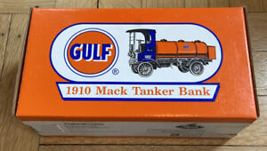 NEW! 1910 1996 Ertl Gulf Mack Tanker Coin Bank 1/25 Die-Cast Metal NEVER OPENED!