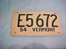 VINTAGE 1954 VERMONT  Mini Auto, Pedal Car, Bike Bicycle PLATE