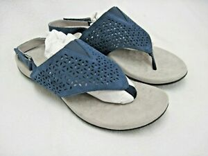 VIONIC WOMEN'S NIKKI LEATHER & FABRIC NAVY T STRAP SANDALS SHOES SIZE 9 TVW5477