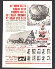 1967 Heap Big Beef Restaurant Advertisement Western Giant Sandwich Print AD