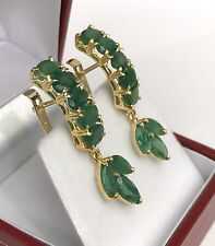 14k Solid Yellow Gold One Row Dangle French Clip Earrings,Natural Emerald 8TCW
