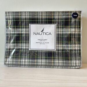 "NIP Nautica Twin Flat Sheet Andover Plaid 100% Cotton 66""  X 96"" Green"