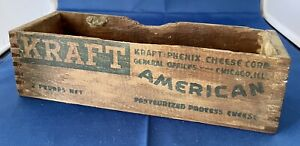 Vintage Antique 2 lb Kraft American Cheese Advertising Wood Wooden Box